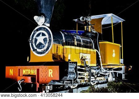 New Delhi India – March 3 2021 : Old Steam Locomotive Engine For Indian Rail At Rail Museum At Delhi