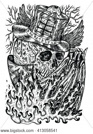 Black And White Illustration With Skull Wearing Illusionist, Magician Or Wizard Hat With Flame On Cl