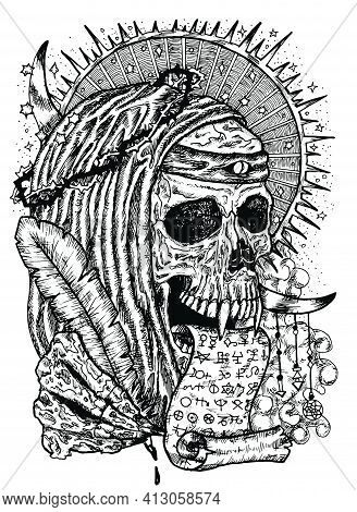 Black And White Illustration With Human Skull Wearing Crown Of Thorns, In Monk Cloak With Manuscript