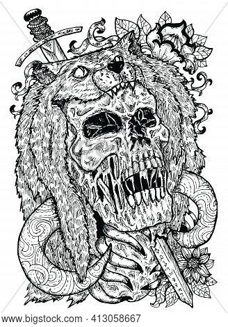 Black And White Illustration With Scary Skull, Beast Coat And Sword. Mystic Background For Halloween
