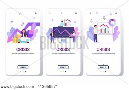 Businesspeople Analyzing Downward Charts Frustrated About Economic Arrow Falling Down Financial Cris