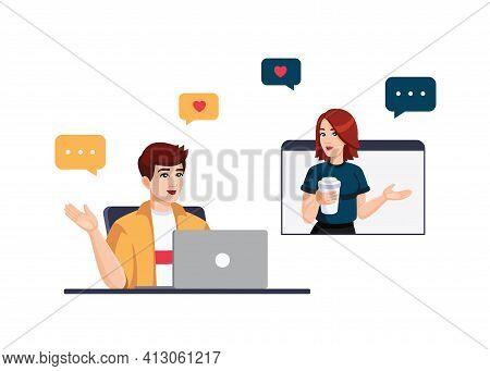 Vector Flat Illustration - Online Dating, Flirting, Online Learning, Online Communication, Chat, Vid