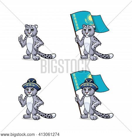 Character, Mascot, Symbol, Sign Of Kazakhstan. Snow Leopard - Irbis  Is In Traditional Oriental, Kaz