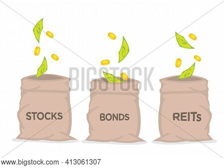 Money Falling From The Sky Into Three Sacks Of Stocks, Bonds And Reits. Concept Of Passive Income Or