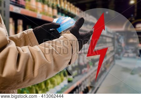 Male Buyer Choose Secure Payment Method With Payment Card. Lightning Arrow As A Symbol Of Warning, A