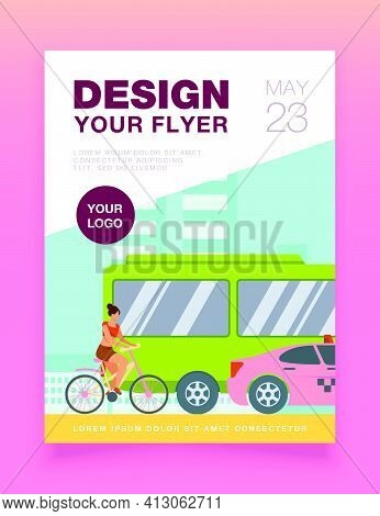 Bus, Taxi And Cyclist Driving On City Road. Transport, Bicycle, Car Flat Vector Illustration. Traffi