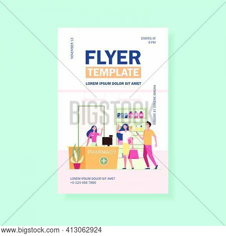 Customers And Pharmacist In Pharmacy Store. People Buying Medication In Drugstore. Flat Vector Illus