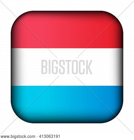 Glass Ball With Flag Of Luxembourg. Squared Template Icon. Luxembourgish National Symbol. Glossy Rea