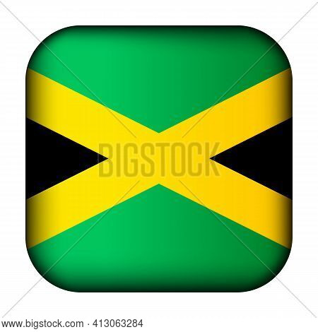 Glass Light Ball With Flag Of Jamaica. Squared Template Icon. Jamaican National Symbol. Glossy Reali