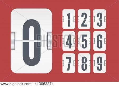 Vector Template With White Flip Scoreboard Numbers For White Countdown Timer Or Calendar