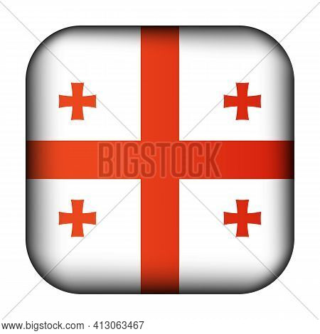 Glass Light Ball With Flag Of Georgia. Squared Template Icon. Georgian National Symbol. Glossy Reali