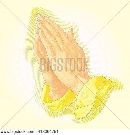 Vector Design Of Hands Of God, Praying Hands, Hands Lit By God, Hands Together Of Priest Praying