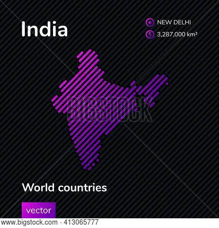 Vector Creative Digital Neon Flat Line Art Abstract Simple Map Of India With Violet, Purple, Pink St
