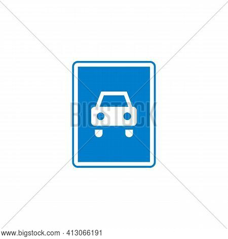 Motor Vehicles Only Mandatory Sign Flat Icon, Vector Sign, Colorful Pictogram Isolated On White. Sym