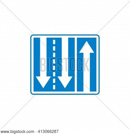 Three Way Road Sign Flat Icon, Three-lane Traffic Vector Sign, Colorful Pictogram Isolated On White.