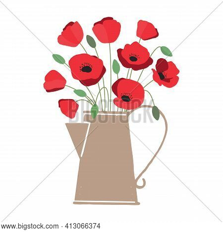 Vector Illustration Of Bouquet Of Bright Red Poppy Flowers In Watering Can Isolated On White Backgro