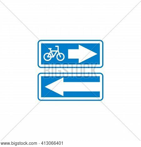 Bicycle Lane Road Sign Flat Icon, Vector Sign, Bike Lane Traffic Colorful Pictogram Isolated On Whit
