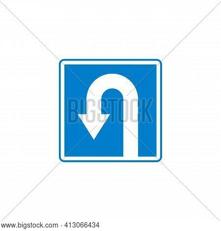 U-turn Traffic Sign Flat Icon, Left U-turn Vector Sign, Colorful Pictogram Isolated On White. Symbol