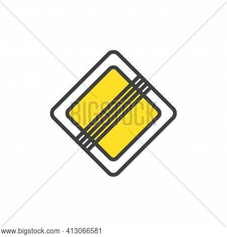 End Of The Main Road Sign Flat Icon, End Of Priority Road Vector Sign, Colorful Pictogram Isolated O