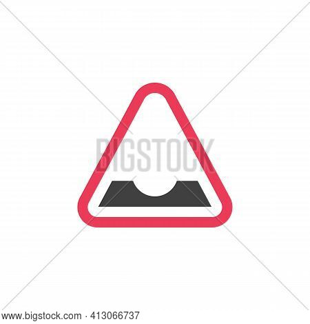 Dip Road Warning Sign Flat Icon, Vector Sign, Colorful Pictogram Isolated On White. Symbol, Logo Ill