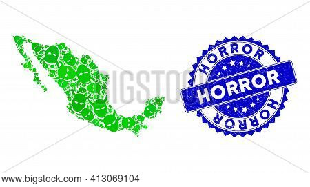 Green Mexico Mosaic Map Composed Of Daemon Head Icons, And Horror Textured Seal Stamp. Vector Daemon