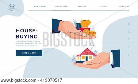 House-buying Homepage Template. Seller Gives House To Customer. Buyer Brings Money For Home Purchase