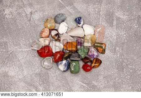 Colorful Various Uncut Mineral Stones, Gemstone, Healing Stone Collection. Collection Set Of Semi-pr