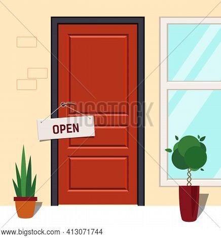 Open Sign On Red Door. Store With A Sign That Says Open.