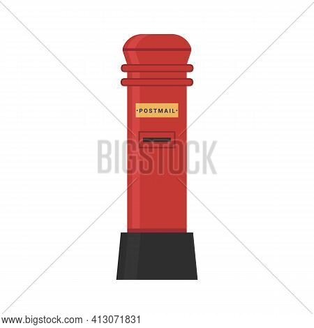 Vector Flat Red Mailbox, Public And Private Address Classic Postbox, Golden Plate. British Royal Mai