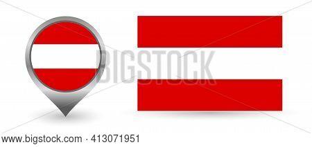 Vector Flag Austria. Location Point With Flag Austria Inside.