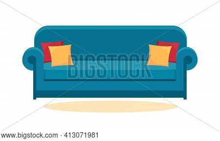 Blue Sofa Isolated On White. Sofa Icon For Interior House.
