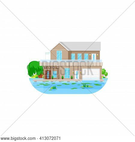 House At Water, Private Villa Or Mansion Cottage, Vector Residential Building. Private House At Wate