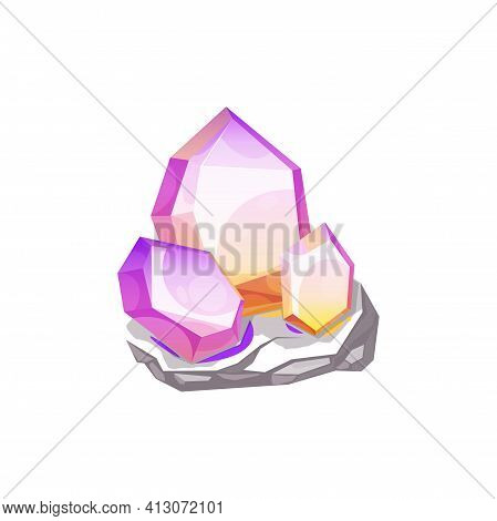 Crystal, Gem Or Gemstone Jewel And Diamond Jewelry, Vector Quartz Mineral Stone Or Glass Rock. Red P