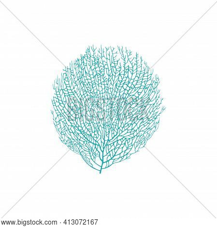 Soft Bushy Coral Isolated Blue Gorgonian Seaweed Icon. Vector Tanks And Aquariums Element, Sea Decor