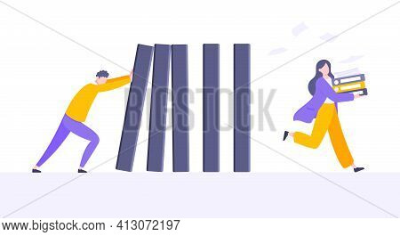 Business Resilience Or Domino Effect Metaphor Vector Illustration Concept.