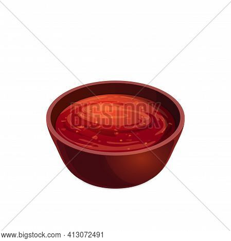 Salsa Tomato Ketchup In Bowl, Plate With Red Paste Isolated Icon. Vector Plate With Tomato Hot Chili