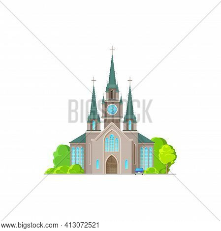 Catholic Church Building Vector Icon. Antique Church Architecture, Cathedral, Chapel Or Monastery Gl