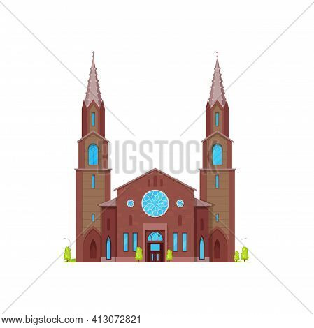 Church Or Cathedral Medieval Chapel, Gothic Architecture Buildings, Vector Facade. Christian Religio