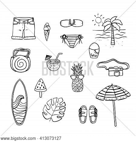 A Set Of Beach Themed Design Elements. Symbols Of Summer Holidays, Palm Tree, Cocktail, Swimsuit, Ca