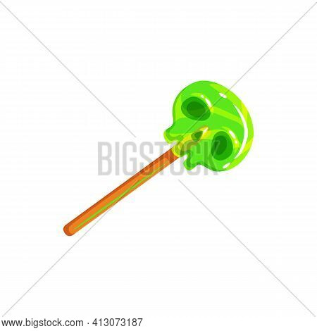 Candy In Shape Of Skull Isolated Halloween Treat Realistic Icon. Vector Sweet Dessert, Lollipop With