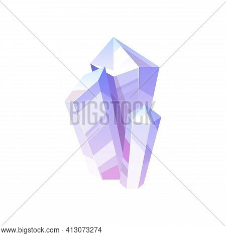 Violet Gem Stone Isolated Natural Crystal Icon. Vector Jewelry Decoration, Sapphire Carat Gemstone,