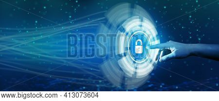Cyber Security Privacy, Information Privacy, and Data Protection in High Technology System. Businessman touching hologram screen to protect data from cyber attacking. Business and Network security concept.