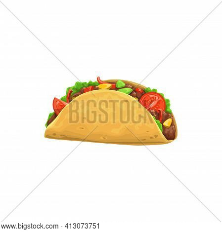 Taco, Fast Food Icon, Menu Snack, Mexican Cuisine Sandwich, Vector Isolated. Fastfood Restaurant And