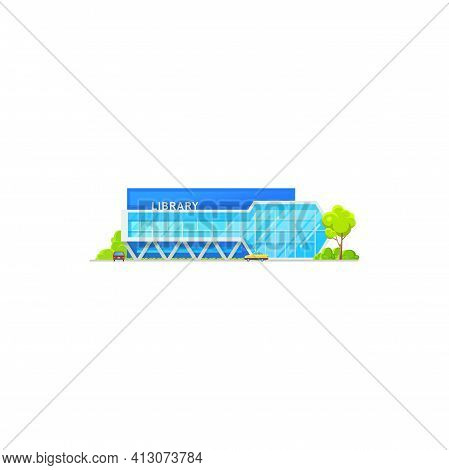 Library Building, Public Architecture Isolated Icon, Vector Flat Facade Exterior. Modern Public Libr