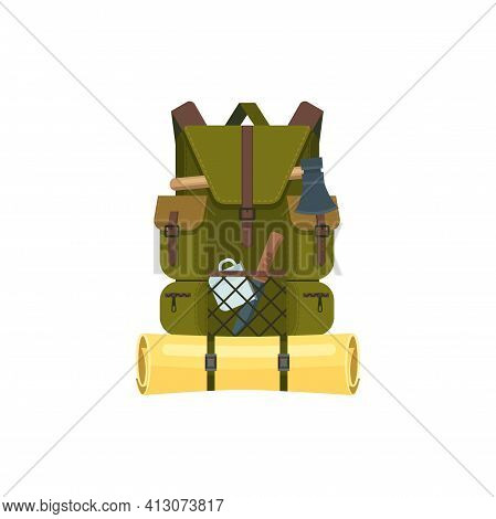 Traveling Backpack With Camp Gear Isolated. Vector Khaki Rucksack With Sleeping Mat, Axe And Metal M
