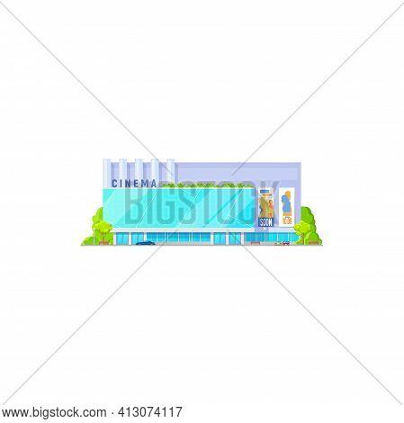 Cinema Building, Movie Theater Entrance Facade, Vector House Exterior Architecture. Cinema Theater O