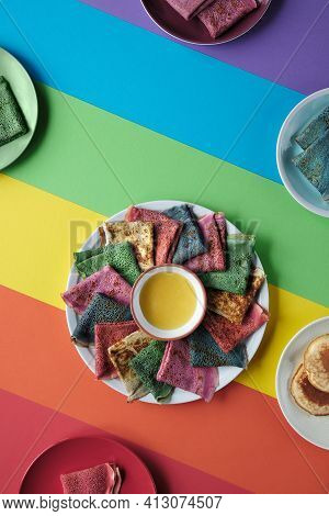 Rainbow Pancakes, Different Color Crepes. Spinach, Beetroot Powder, Blue Matcha And Turmeric Crepes.