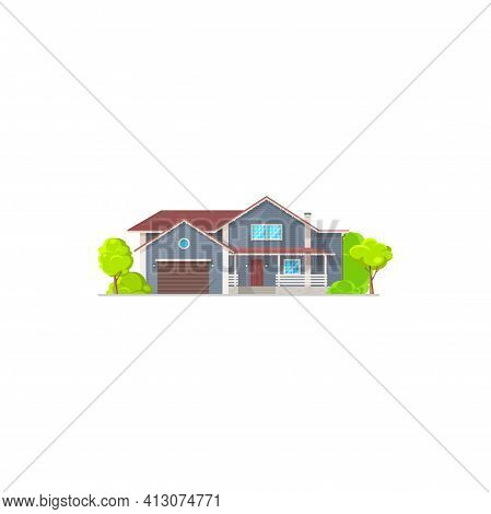 Cottage House In Cartoon Style With Garage, Entrance Door And Windows. Vector Town Family Mansion Wi