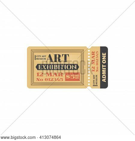 Retro Ticket To City Museum To Gallery Exhibition Isolated Coupon Card. Vector Admit One Public Disp