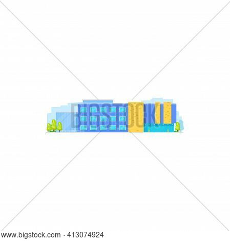 Real Estate Building Or Business Office Center Isolated Urban House Exterior. Vector Urban Commercia